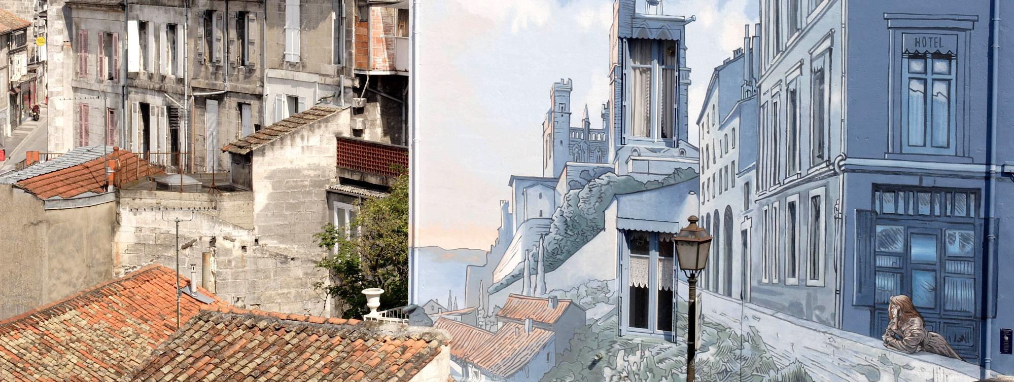 Chateau de Maumont : Mur BD peint Angouleme ©Infiniment-Charente
